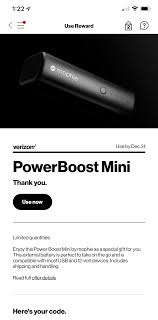 VerizonUp Rewards - Free PowerBoost Mini YMMV - Slickdeals.net