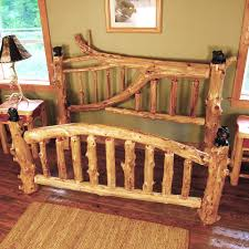Katmai Branched Cedar Log Bed With Bear Carvings