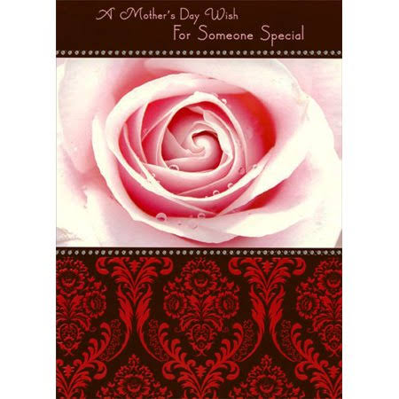 Designer Greetings Closeup of Rose on Deep Red and Brown Mother's Day Card, Size: 5.75 x 8