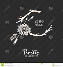 Rustic Premade Typographic Logo With Flowers Branches And Arrows