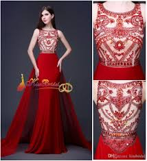 2015 red crystal beaded prom dresses designer winter formal dress