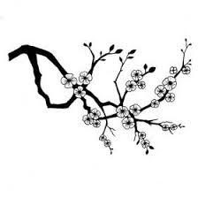 Gallery for black white cherry blossom clip art