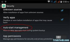 Manage Auto start Apps in Android