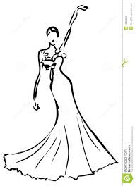 Prom dress clipart black and white