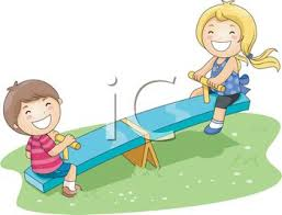 Kids Playing On A Playground Seesaw