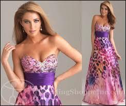 purple printed prom dresses