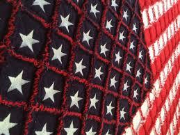 American 50 Star Flag Rag Quilt 51 X 38
