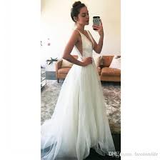 Discount Simple Deep V Neck A Line Beach Wedding Dresses 2018