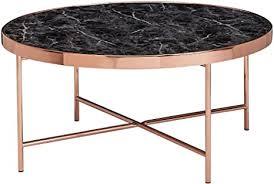 wohnling design couchtisch marmor optik schwarz rund ø82 5 cm mit kupfer metallgestell großer wohnzimmertisch lounge tisch