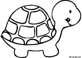Coloring Pages Printable Turtle Simple Color To Print Out Black White Small Cute Tongue