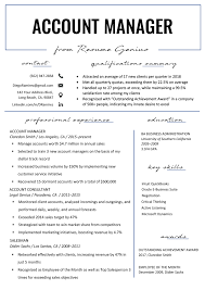 Account Manager Resume Sample & Writing Tips | Resume Genius Best Resume Writers Companies Careers Booster The Builder Online Fast Easy To Use Try For Certified Public Accouant Cpa Example Tips What Can I Do Improve My Resume Rumes How Make A Employers Will Notice Lucidpress Nature Cover Letter New Fix My Lovely Fresh 7step Guide Your Data Science Pop Of Chemistry Teacher Legal Livecareer Any Suggeonstips On Applying Think Tank Written By Me Ted Perrotti Cprw