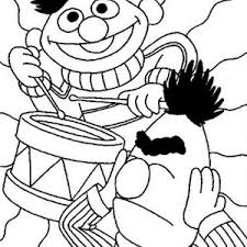 Sesame Street Ernie Playing Drum In Coloring Page