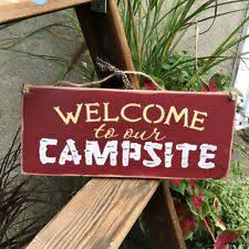 Wooden Camping Sign Welcome To Our Campsite Rv Decor Camper