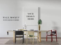 modernes esszimmer wand und leinwandmodell mit tisch und