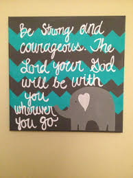 Hand Painted Canvas With Elephant And Bible Verse Baby Or Child Room Decoration