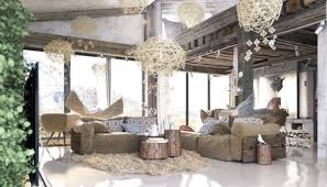 Living Room Cool Rustic Bedroom Ideas Rattan Chandeliers Shagpile Rug Chic Gray Sofa