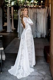 Ivory Sheer Long Sleeve Statement Low Back Elegant Lace Destination Bridal Dress