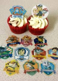 12 Precut Paw Patrol Edible Wafer Rice Paper Cupcake Toppers