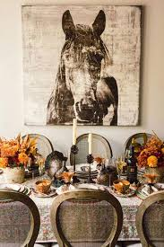 This Rustic Thanksgiving Celebration Had A Unique Horse Canvas Painting Hanging Behind The Table On There Were Pinecone Candle Holders