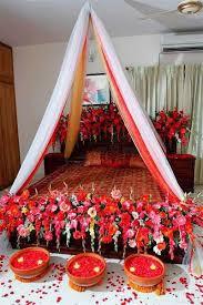 Beautiful Bridal Wedding Bedroom Decoration Ideas With Flowers Red Rose Pakistan India Karachi