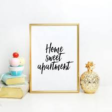 Printable Quote Home Sweet Apartment Typography Art Print Floral