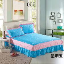 Sky Blue Bed Skirts Twin Full Queen King Size cotton Bed