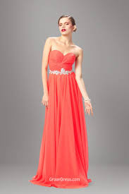 coral pink strapless sweetheart long chiffon simple prom dress