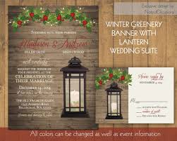 Lantern Wedding Invitations Set Rustic Winter Wedding Invitation