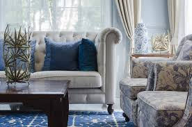 Close Up Of Furniture Pieces In Living Room With Pleated Couch And Floral Pattern Chairs