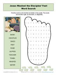 Jesus Washes The Disciples Feet Word Search And Other Printable Activities