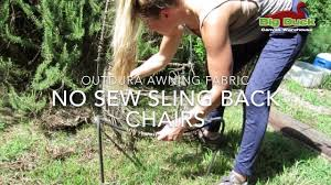 Diy Replace Patio Chair Sling by Recover Sling Back Outdoor Chairs Without Sewing Youtube