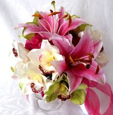 4 Piece Set Orchid Bridal Bouquet Green Hot Pink And White