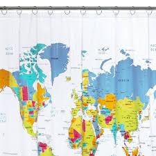 World Map Shower Curtain White Blue Yellow Saturday Knight Ltd