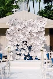 Navy And White Parisien Garden Wedding At Grand Hyatt Singapore Backdrop Paper Flowers