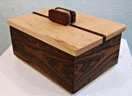 Bocote Jewelry Box With Maple Base And Walnut Top