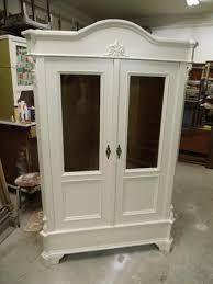 vitrinenschrank kleiderschrank in weiß shabby chic antik um