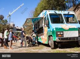 100 Atlanta Food Trucks People Stand Line Image Photo Free Trial Bigstock