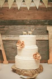 Gold Deer Topped Wedding Cake