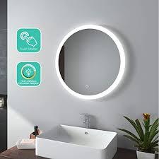 emke led badspiegel rund 60 cm durchmesser led spiegel badezimmerspiegel mit beleuchtung 3 lichtfarbe 3000 6400k kaltweiß neutral warmweiß
