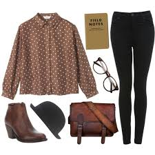 There Is 0 Tip To Buy This Blouse Brown Dress White Polka Dot Button Up Jeans Shoes Hat Help By Posting A If You Know Where Get One Of These