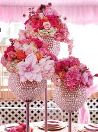 Beautiful Pink Wedding Flower Centerpieces With Crystal Vase Combined Light Roses And Elegant