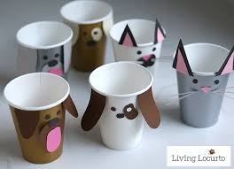 Pet Party Ideas For Kids Dog And Cat Paper Cup Craft With Puppy Chow Snack
