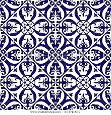 Blue And White Floor Tiles Pattern Vector With Ornaments