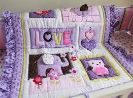 American Baby Crib Bedding Set Girls Purple Love Elephant Applique