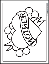 Heart Happy Mothers Day Coloring Picture