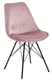 esszimmerstuhl eris mit samtstoff rosa