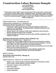 Construction Labor Resume Sample Download
