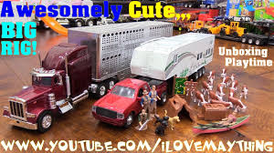 100 Big Truck Toys Kids Toy S A Camping Trailer Pickup And Semi Hauler Animal Transporter Unboxing