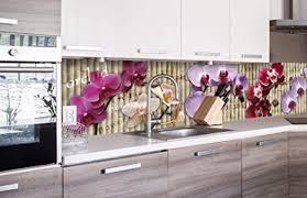 dimex line küchenrückwand folie selbstklebend orchidee klebefolie dekofolie spritzschutz für küche premium qualität made in eu 260 cm x 60