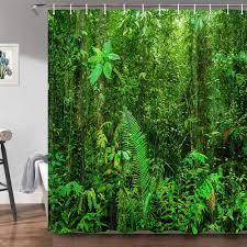 grüner wald duschvorhang für badezimmer tropischer dschungel regenwald landschaft naturbaum exotische pflanzen badvorhang 174 x 178 cm